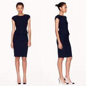 J Crew Wool Peplum Dress Size 0 Black Career Zip